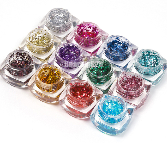 12 Color Rhombus Glitter Acrylic UV Gel Soak Off Nail Art Gel Polish For UV Lamp Tips Decoration