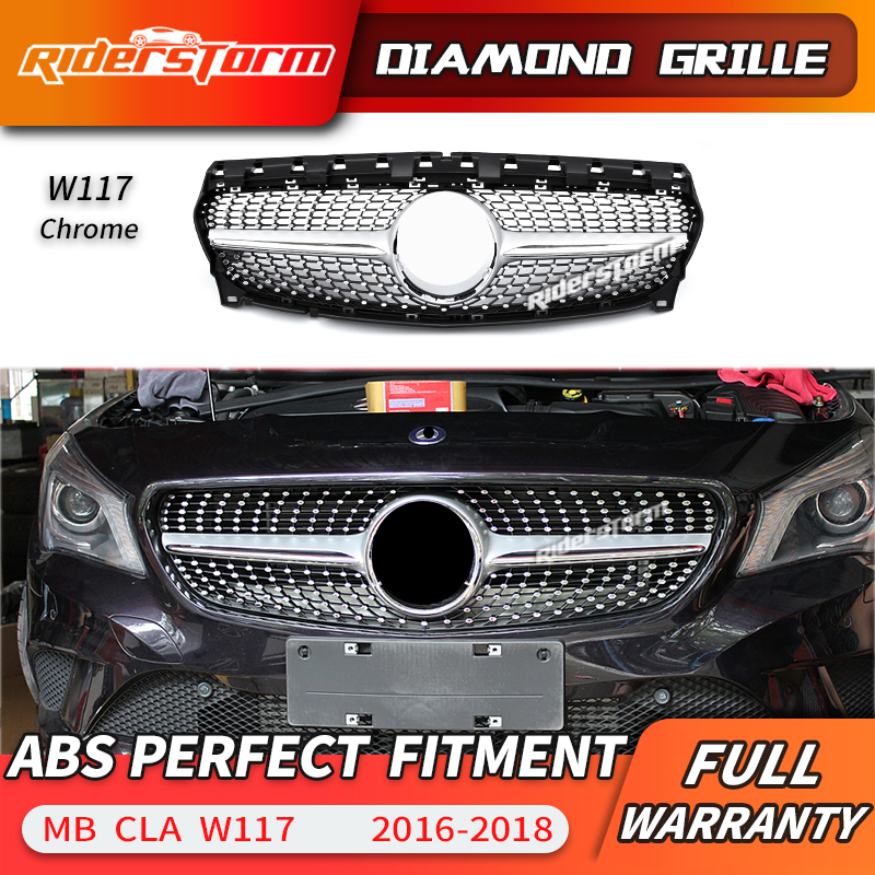 For CLA class W117 Diamond Grill Front Grille for CLA180 CLA200 CLA220 <font><b>CLA250</b></font> Car grille front bumper front lip 2016-2018 image