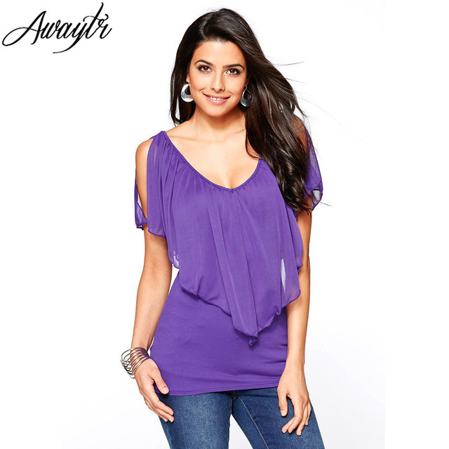 Summer Short Sleeve Chiffon Blouse