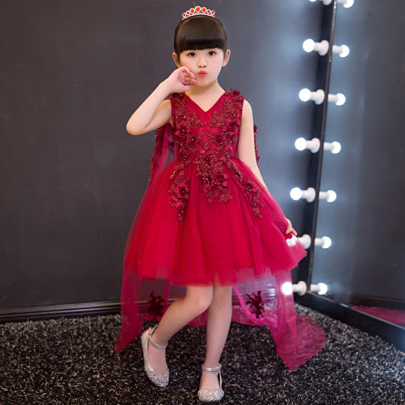 High Quality 2017Knee Length Lace Tippet Embroidery Appliques Flower Kids Dress Girls Dress For Wedding Birthday Ball Prom PartyHigh Quality 2017Knee Length Lace Tippet Embroidery Appliques Flower Kids Dress Girls Dress For Wedding Birthday Ball Prom Party
