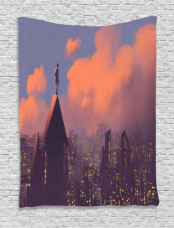 Fantaisie Art maison décor tapisserie par Ambesonne homme sur le toit regarder ville gratte-ciel solitaire ville soirée ton tenture murale