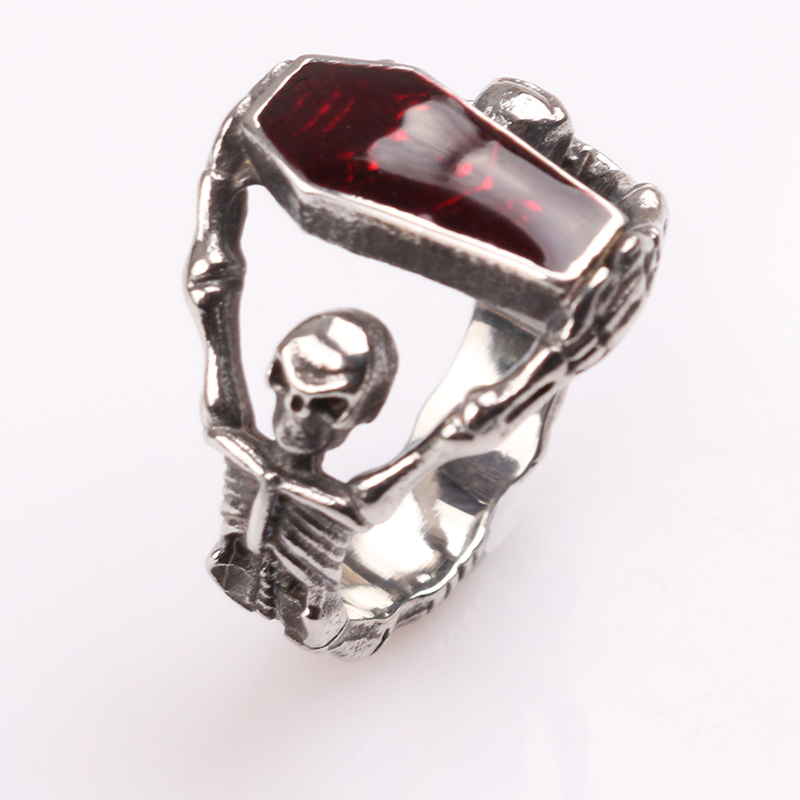 Personalized The Vampire Diaries Red Crystal Coffin Skull Ring