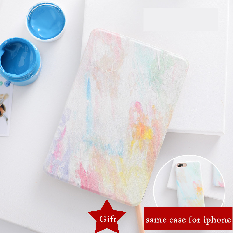 все цены на Painted Case for iPad Pro 10.5 9.7 2017 PU Leather Folio Stand Auto Wake Smart Cover case for iPad air air2 mini 1 2 3 4 tablet онлайн
