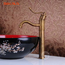 wholesale and retail new deck mounted antique brass bathroom basin faucet vessel sink mixer tap single handle  hy-609 стоимость