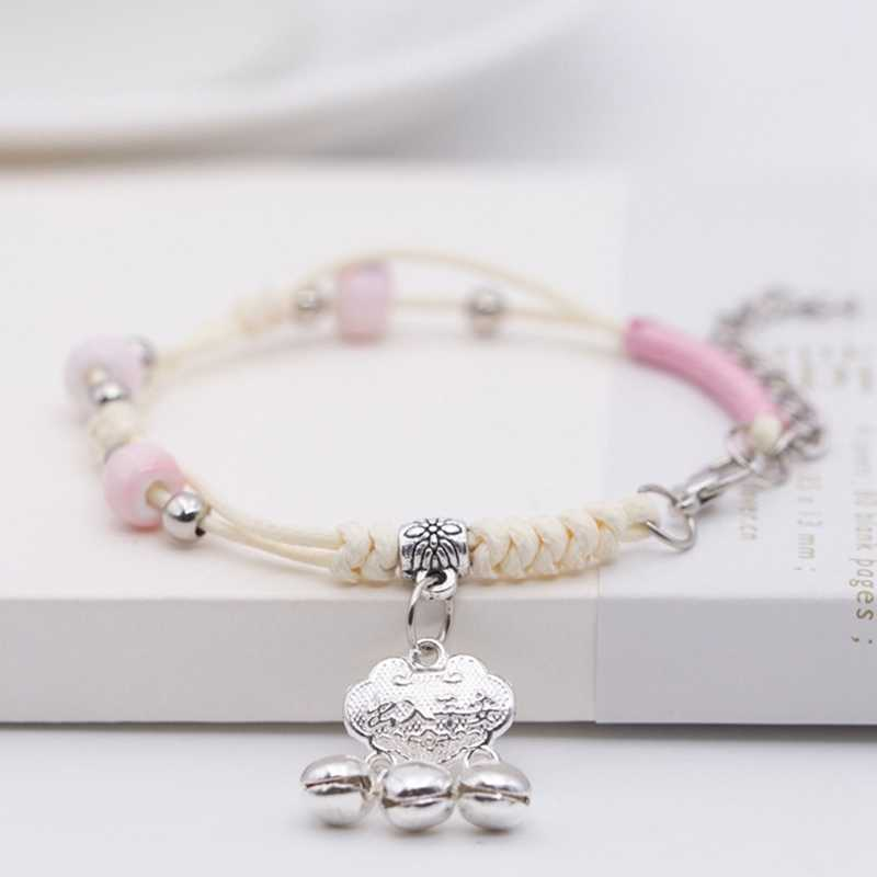 Free Shipping! Women Cute Pink Rope Chain Romantic Decoration Cross Jewelry Water Drop Concentric Lock Bell Pendant Bracelet