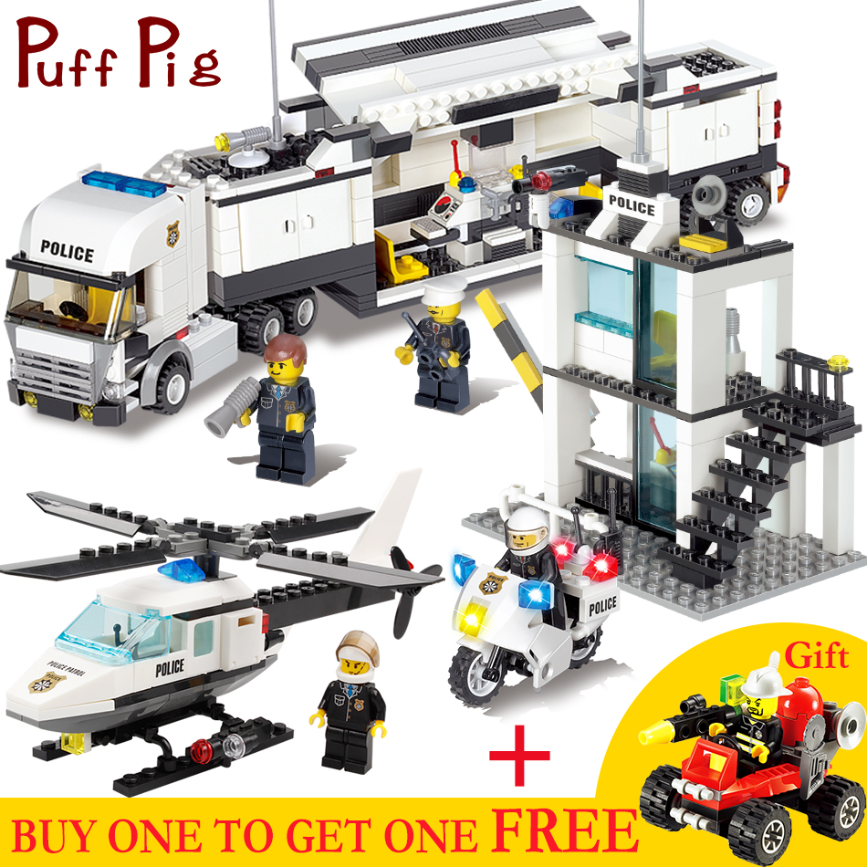 Mobile Police Station Truck Motorbike Helicopter Model Swat Figures Compatible Legoed City Construction Kids Building Blocks Toy bohs building blocks city police station coastal guard swat truck motorcycle learning