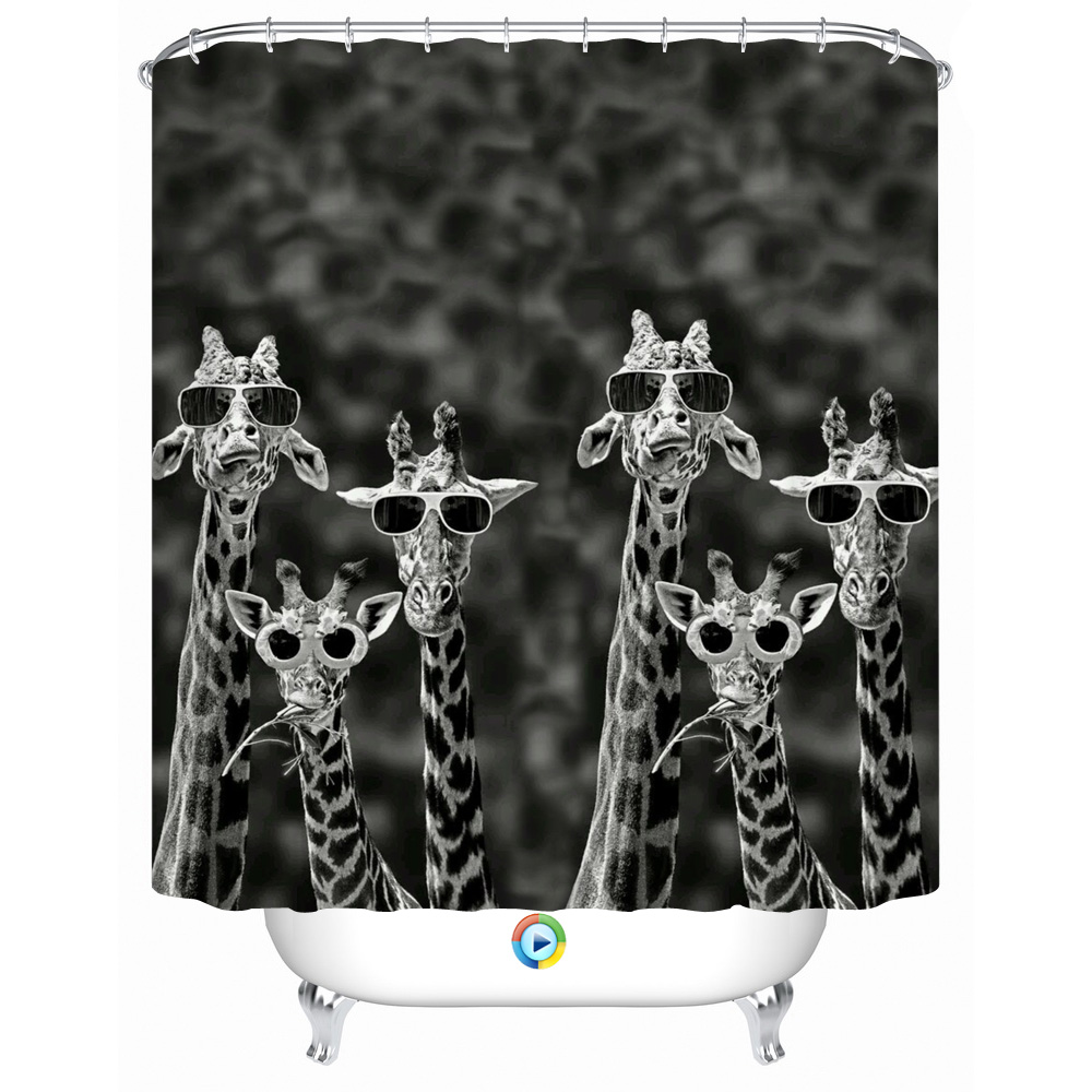 Giraffe Wearing Sunglasses  3d multiple sizes waterproof shower curtain a group of giraffe