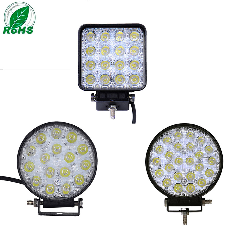2Pcs led light work light bar 48W 36W 72W Square/round off road car led light bar spot flood light 12v 24v car LED worklight