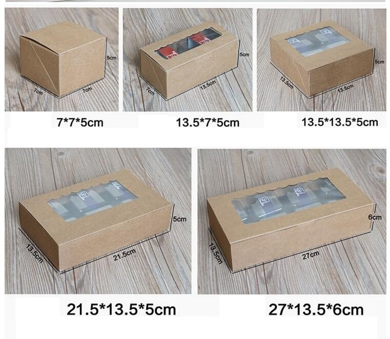 20 kraft Cookies Biscuit packaging paper box wedding,craft cake box with pvc window,cupc ...