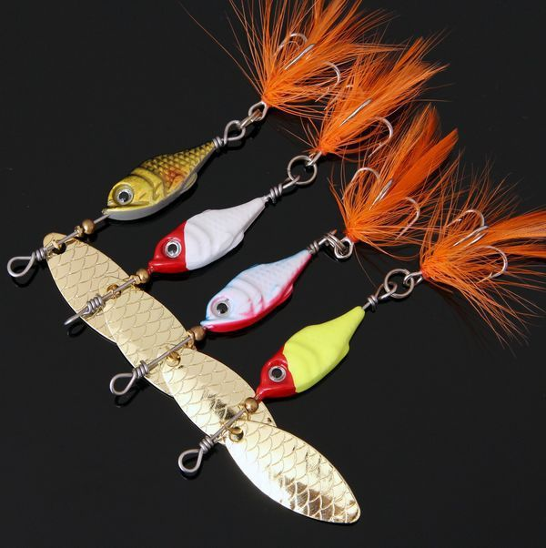 Feathers, sequins rotation with 10 g Lure Road Bass Mandarin Culter Lures bait Minnow Lure 4 pieces