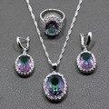 Impresionante Arco Iris Creado Topaz de La Joyería de 925 Pendientes de la Plata Esterlina/Colgante/Collar/Anillo Regalo JS283