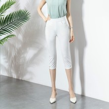 Summer Women Skinny Elastic Pants Capris High Waist White Black Stretch Calf-length Pencil