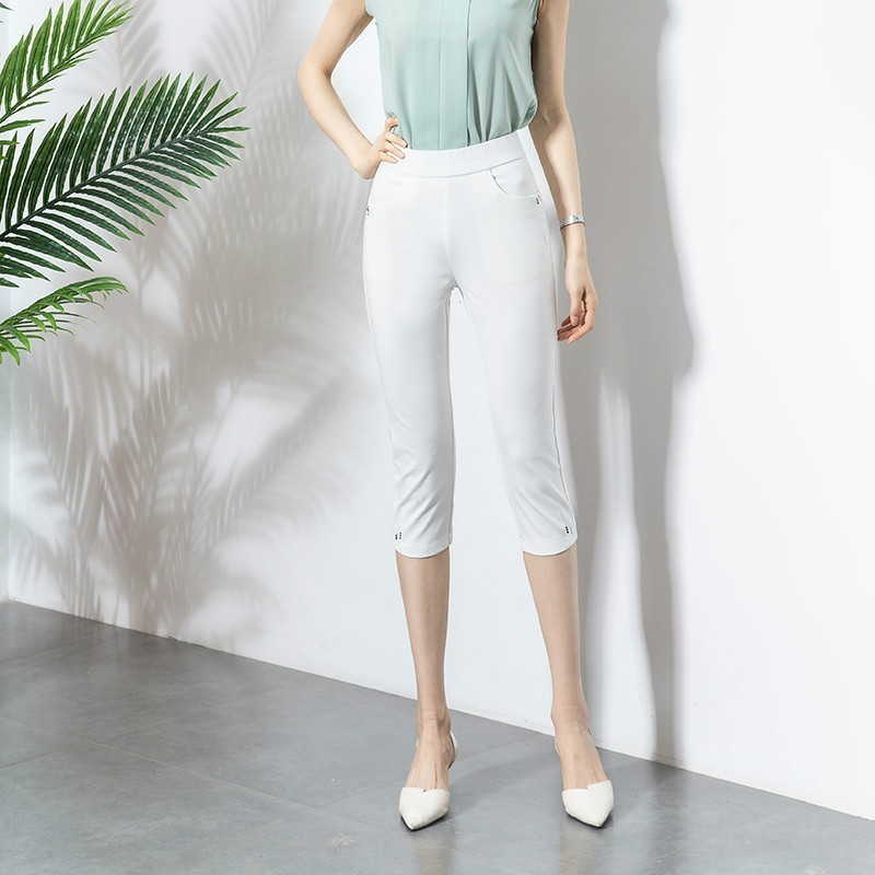 Summer Women Skinny Elastic   Pants     Capris   High Waist White Black Stretch Summer Calf-length Pencil   Pants