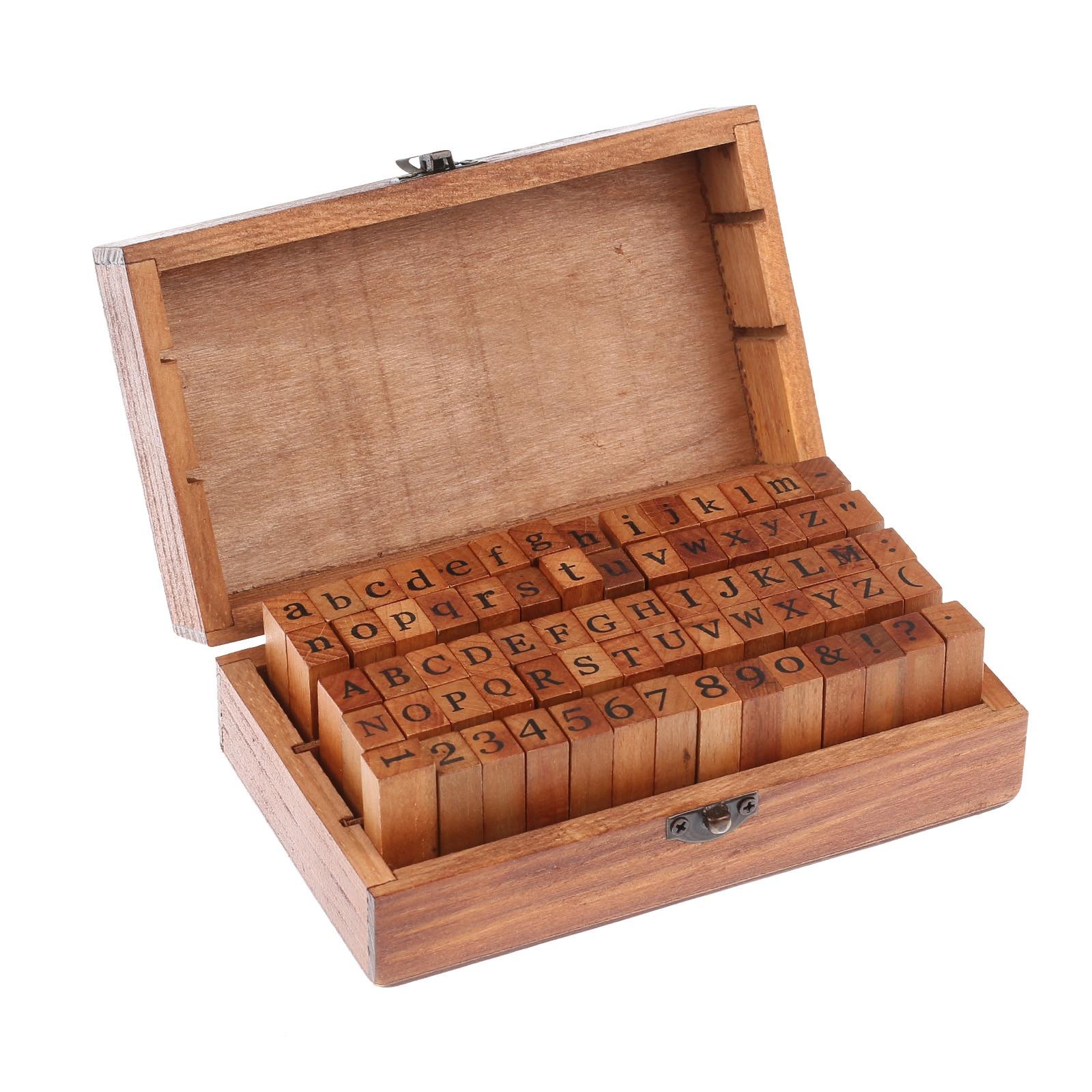 70 шт./компл. темно-коричневые винтажные деревянные прописные и строчные буквы алфавита, резиновые штампы, набор, высококачественный деревян...