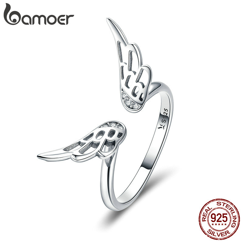 BAMOER Authentic 925 Sterling Silver Classic Feathers Wings Adjustable Finger Rings
