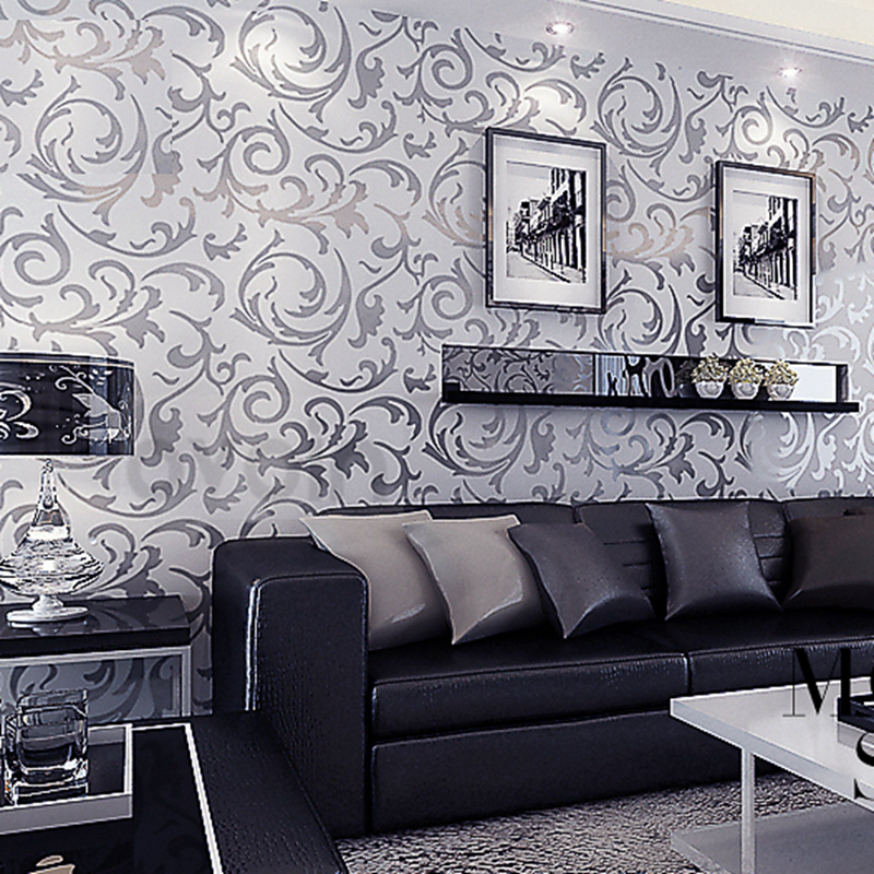 Victorian damask wallpaper silver leaf scroll background for Silver wallpaper living room