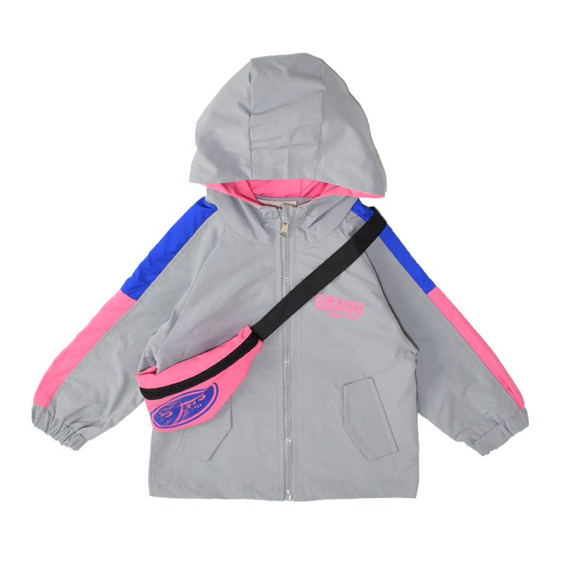 Baby Girls   trench   2-7 year old cotton Letter Multicolor stitching sleeves jacket backpack as gift spring and autumn hooded