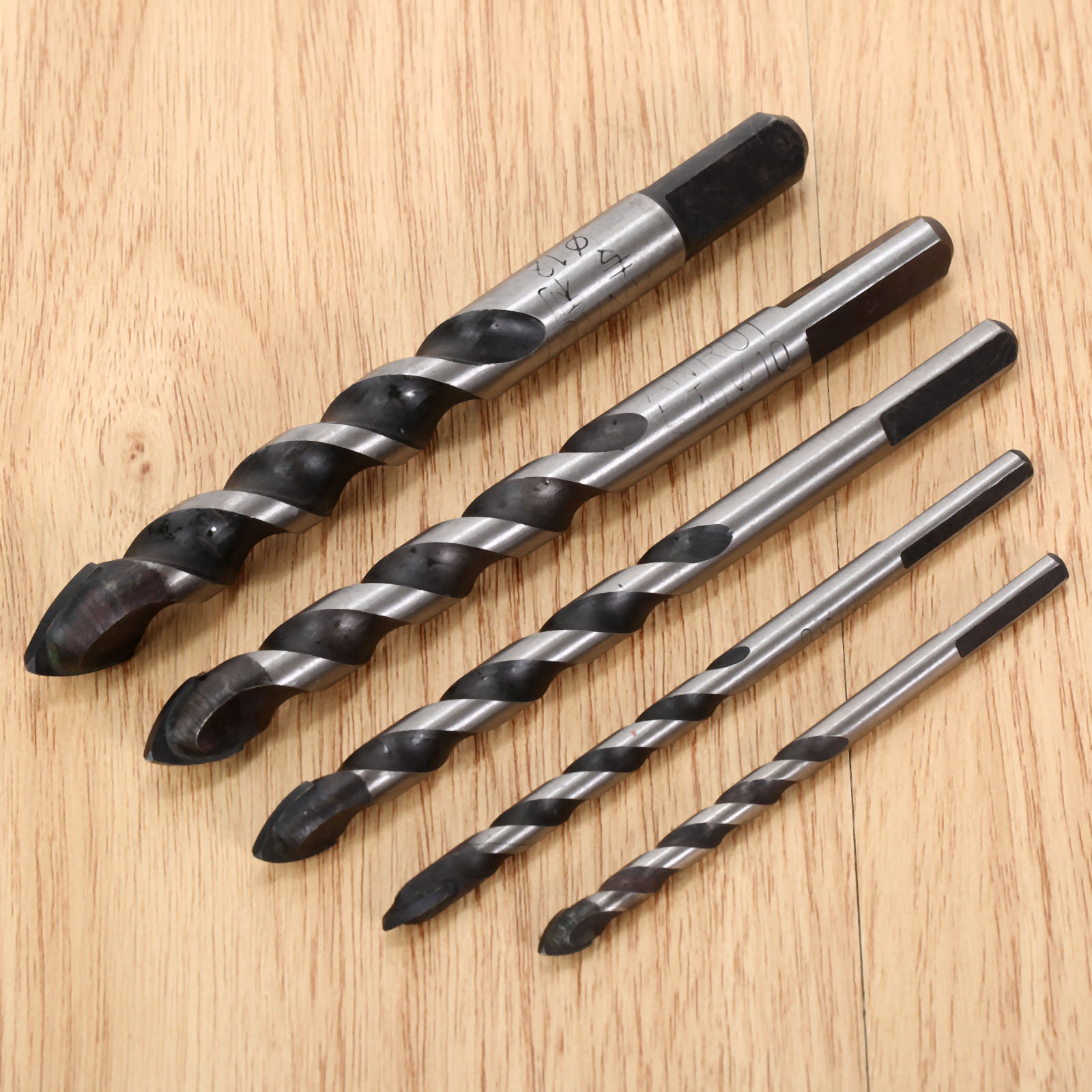 5Pcs Drywall Tungsten Carbide Drill Bit Set for Wood Ceramic Tile Marble Mirror Glass 5/6/8/10/12mm w/ Triangle Shank Power Tool 4 pieces tungsten carbide glass drill bits for ceramic tile marble mirror 6mm 8mm 10mm 12mm