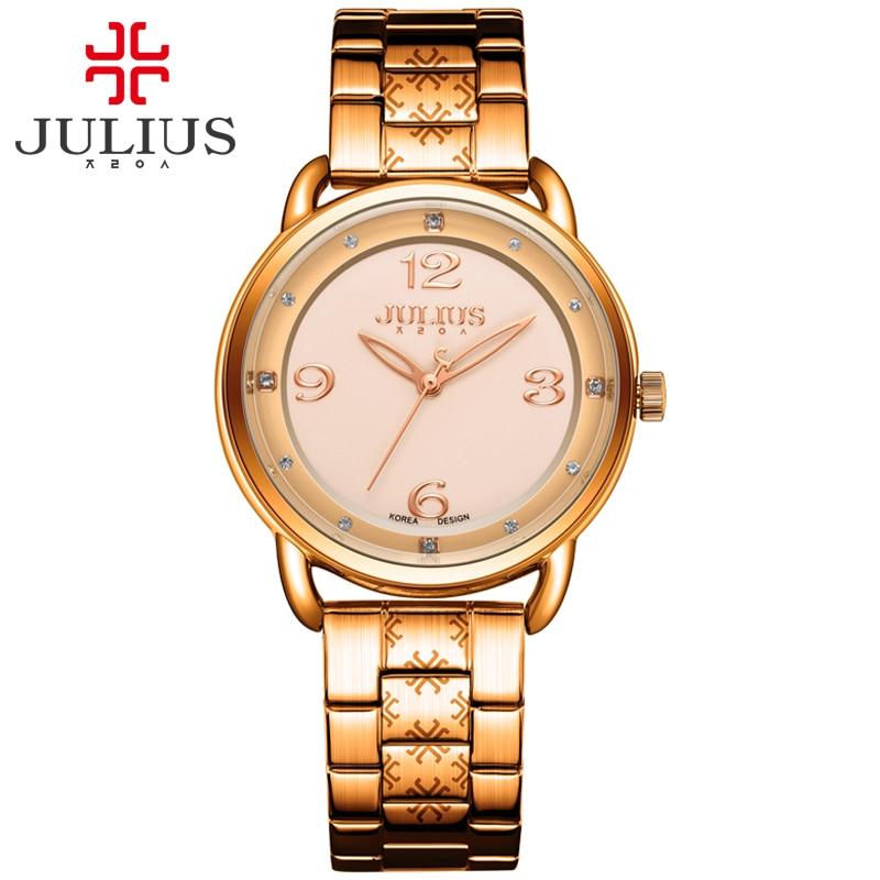 JULIUS Casual Whatches ผู้หญิง Luxury โลโก้สแตนเลส Rose Gold เงินคลาสสิกธุรกิจ Relojes JA 936-ใน นาฬิกาข้อมือสตรี จาก นาฬิกาข้อมือ บน   1