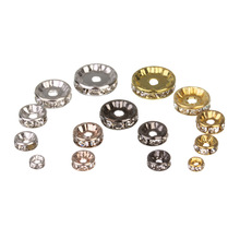 50pcs/lot 4 6 8 10 12mm Gold Silver Rhinestone Rondelles Crystal Bead Loose Spacer Beads for DIY Jewelry Making Accessories