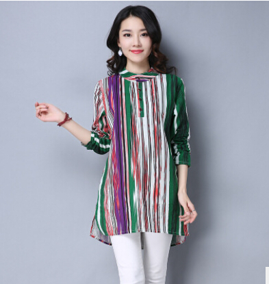 Blouse Europe United States women 's shirt 2017 spring new cotton linen long - sleeved loose large size women' s striped sh