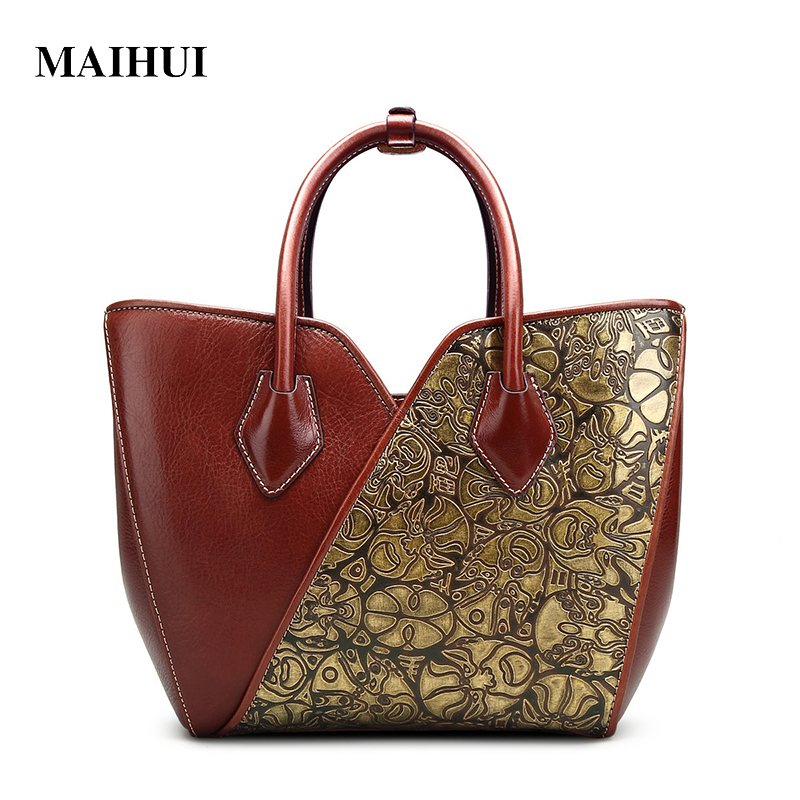 MAIHUI women leather handbags high quality real cow genuine leather tote bag 2017 new chinese style embossing face Works of art