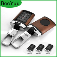 BooYuu Top Layer Leather+ABS CAR key Case key Shell key Cover keychain For Cadillac CTS XTS ATS SLS SRX 3button 4button 5button