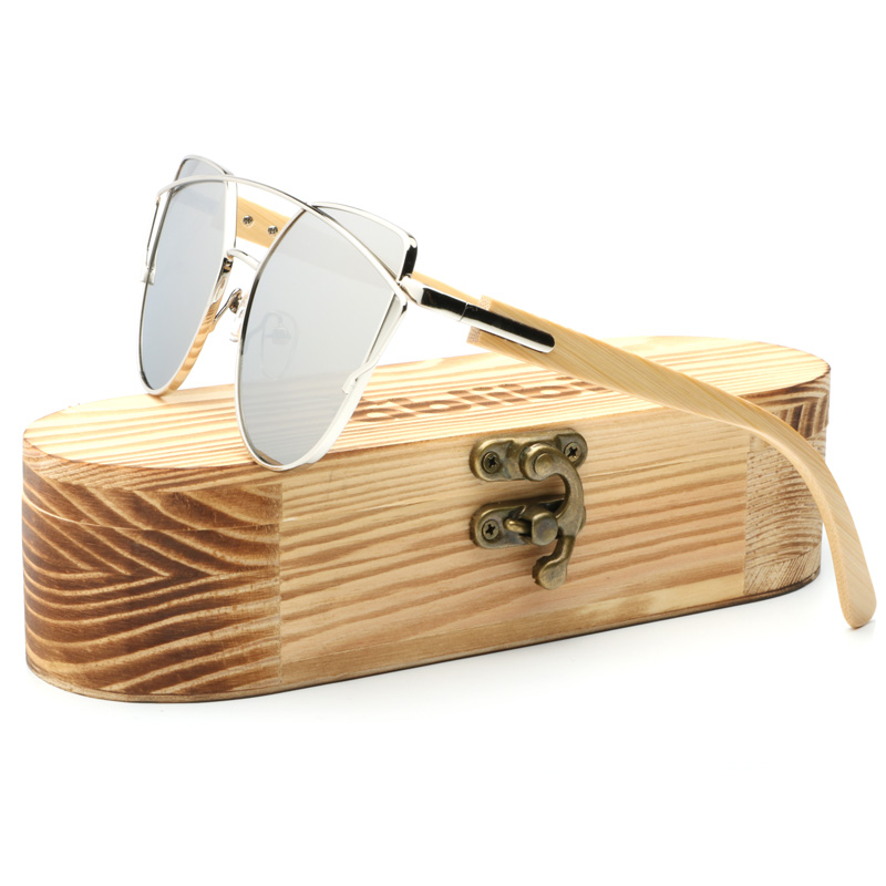 2affc996ec Ablibi Women s Fashion Silver Sunglasses Oversize Metal Frame Thin Bamboo Temple  Color Mirror Flat Lens in Bamboo Tube