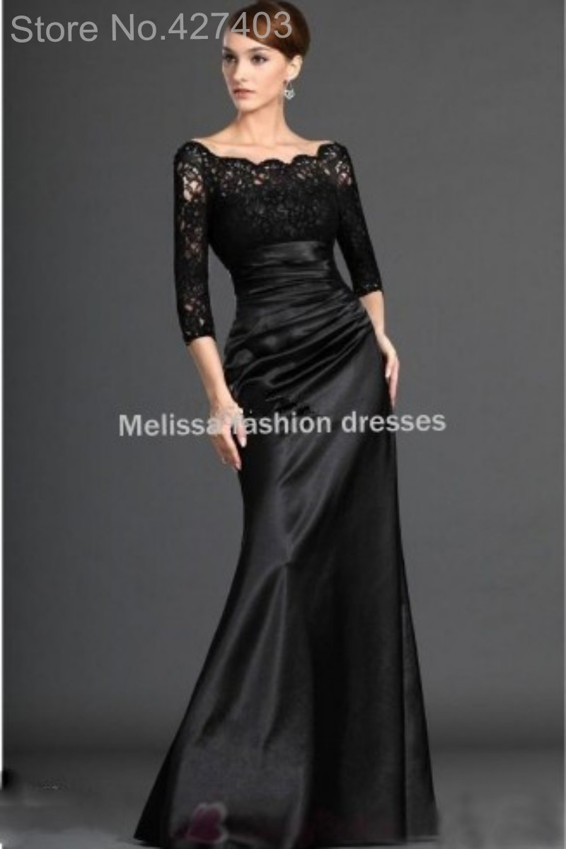 Floor Length Scallop Neck Black Mother Of The Bride Dresses New