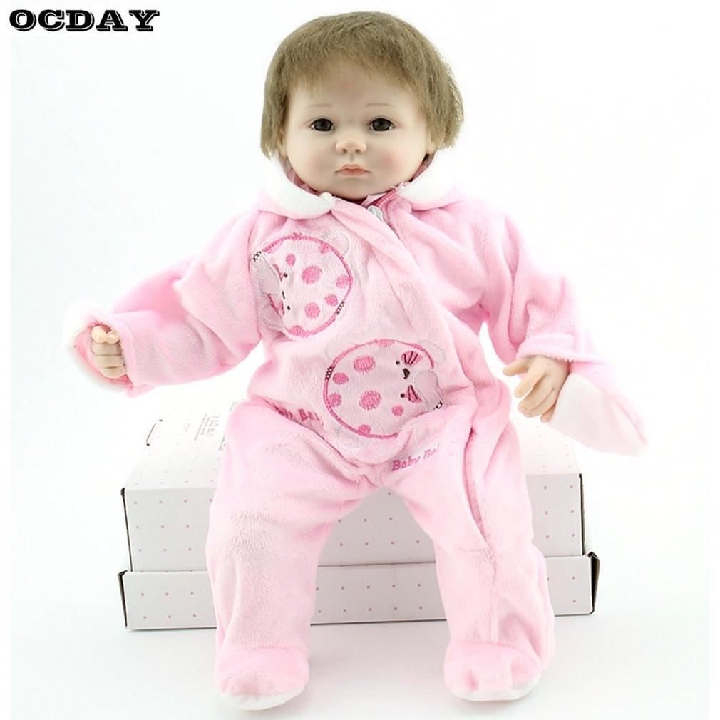 40/42/55cm Reborn Baby Doll Toys Full Body Soft Silicone Vinyl Baby Doll Handmade Lifelike Newborn Baby Doll Toys For Kids Child