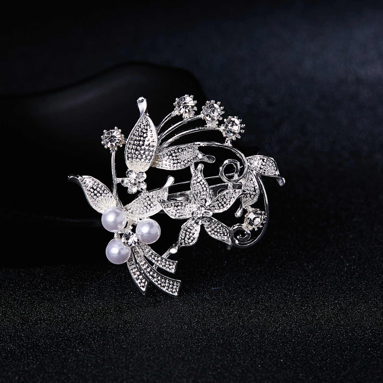 Rinhoo Fashion Wanita Besar Bros Wanita Kepingan Salju Mutiara Imitasi Berlian Imitasi Kristal Pernikahan Bros Pin Perhiasan Accessorise