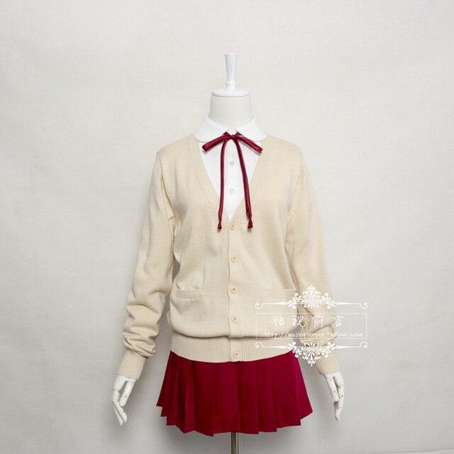 537a1c569 Sweet Girls Women Kawaii Harajuku Korea Japanese School Uniform  Sweater+Shirt+Skirt+Red
