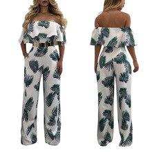 Новый Для женщин летние Повседневное Сексуальная Слэш Средства ухода за кожей шеи с открытыми плечами 3D с цветочным принтом короткий рукав оборками Комбинезоны и Корректирующие боди для женщин