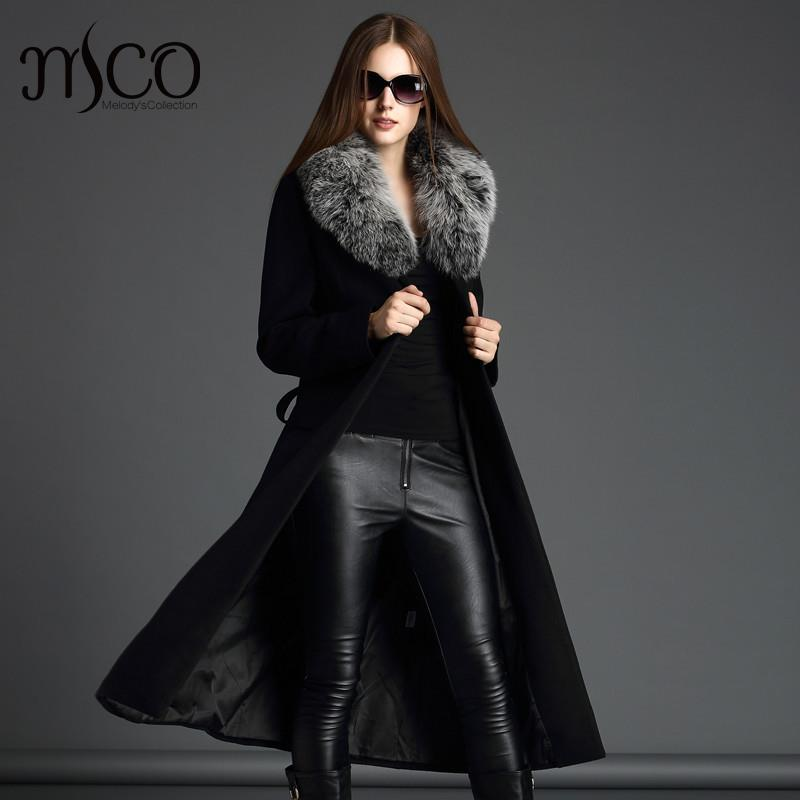 2016 New Arrive Women Winter Slim Warm Cashmere Turn-down Collar Trench Noble Long Wool Coat with Fox Fur Collar belts Sashes plus size women in leather