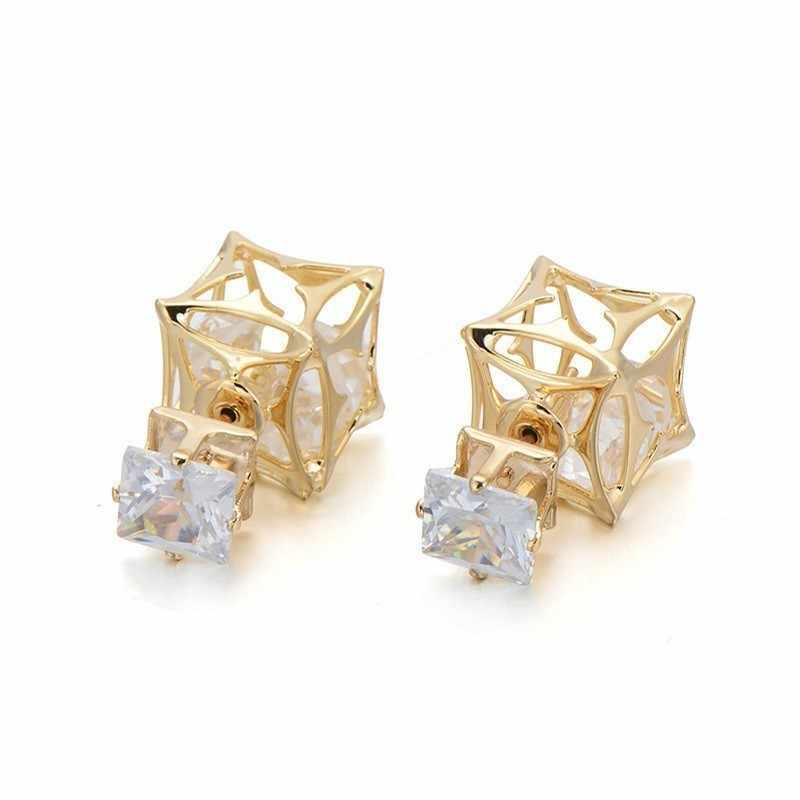 Gorąca sprzedaż piłka pusta w środku podwójna twarz stadniny kolczyki dla kobiet 7mm plac Cut Cz kryształowe kolczyki złoty kolor biżuteria C4S1207