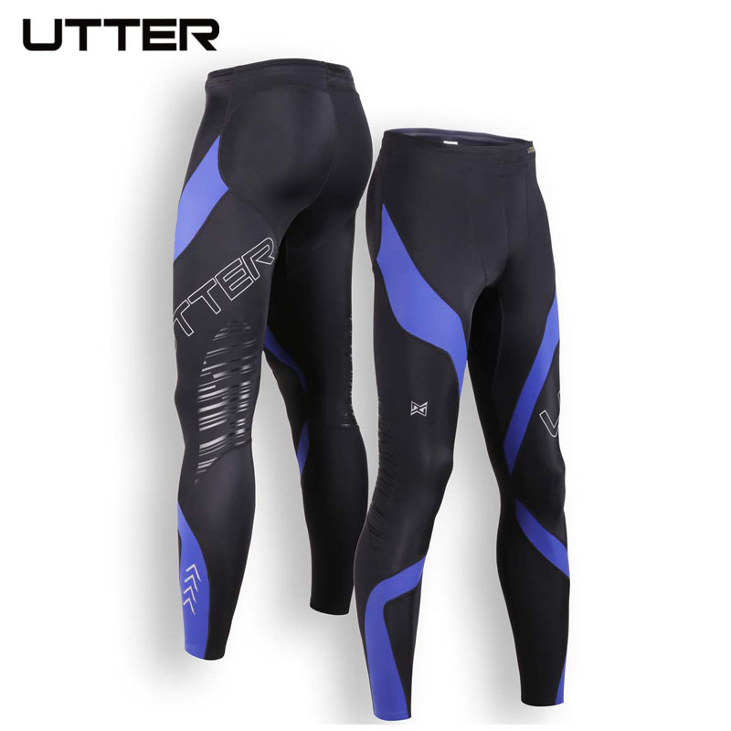 UTTER J5 Blue Printing Mens Compression Pants Sports Running Tights Basketball Gym Bodybuilding Jogger Jogging Fitness Trousers 2016 boys running pants soccer trainning basketball sports fitness kids thermal bodybuilding gym compression tights shirt suits page 1
