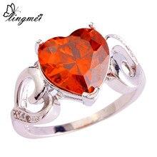 Wholesale Hot New Engagement Wedding Bridal Heart Cut Garnet 925 Silver Ring Size 6 7 8 9 10 Free Shipping недорого