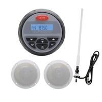 Waterproof Marine Stereo Bluetooth Gauge Radio FM AM Audio +4 Inch 2 Way White Marine Boat Waterproof Speakers+Marine Antenna