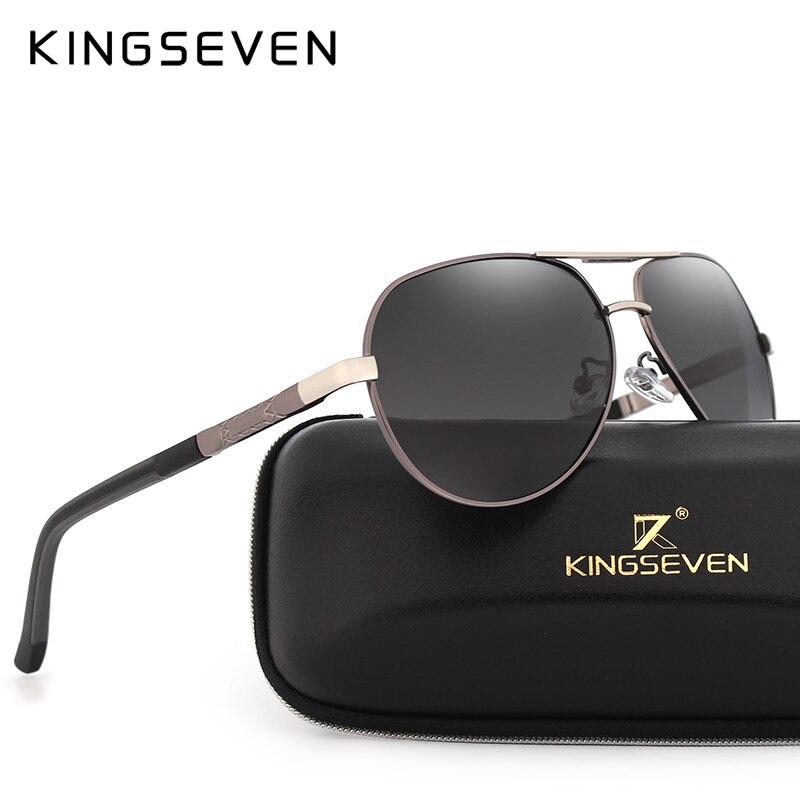 4d2a719a6beee KINGSEVEN UV400 Polarizada de Alumínio E Magnésio Óculos de Sol dos homens  da Marca óculos de
