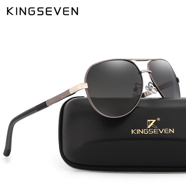 KINGSEVEN Brand Men's Aluminum Magnesium Sun Glasses HD Polarized UV400 Sun Glasses oculos Male Eyewear Sunglasses For Men N725