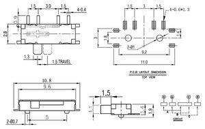 Миниатюрный скользящий переключатель, 10 шт., 8 Pin, 1P3T, SP3T, ON-ON, прямой угол, SMT/SMD PCB, 1,50 мм, высота