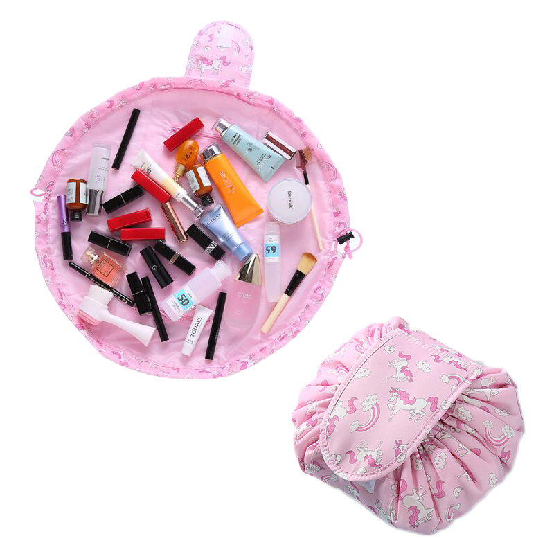 SAFEBET Drawstring Makeup Bag Korea Lazy Waterproof Cosmetic Storage Bags Large Capacity Folding Travel Organizer For Desktop