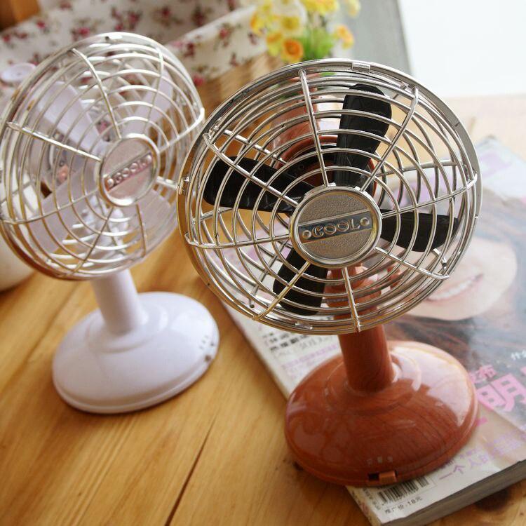 free shipping vintage wood grain table fan liftable and lowerable small fan battery oscillating fan mini fan usb fanin fans from home improvement on