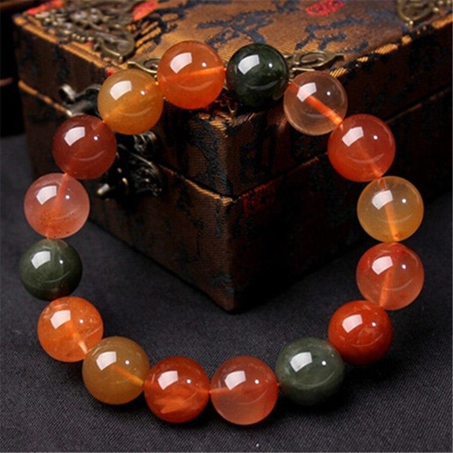 2018 nouvellement en gros véritable naturel Fukurokuju pierre gemme Multi couleurs rondes perles de cristal bracelet à breloques extensible 11-15mm