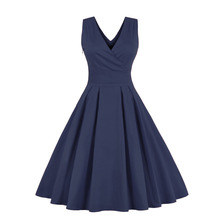 Blue Red Pleated Plain Vintage Dress