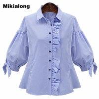 Mikialong Vintage Side Ruffle Blouse Femme Blue Lantern Sleeve Plaid Shirt Women Fashion Tops 2017 Summer