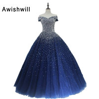 Long Elegant Navy Blue Dress Prom Off The Shoulder Beadings Tulle Cheap Ball Gown Evening Party Dress for Women Lace up Back