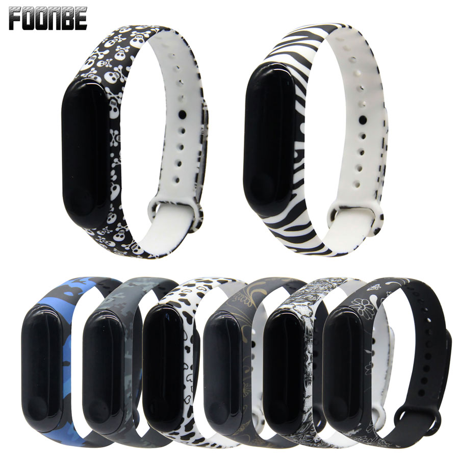 For Miband 3/4 Camouflage Strap For Mi Band 3 4 Accessories Replacement Silicone Mosaic Strap For Xiaomi Mi 3/4 Smart Bracelets