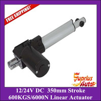 Free Shipping 12volt/ 24volt 14inch/ 350mm stroke electric linear actuator max 1320lbs/6000N lift actuator linear