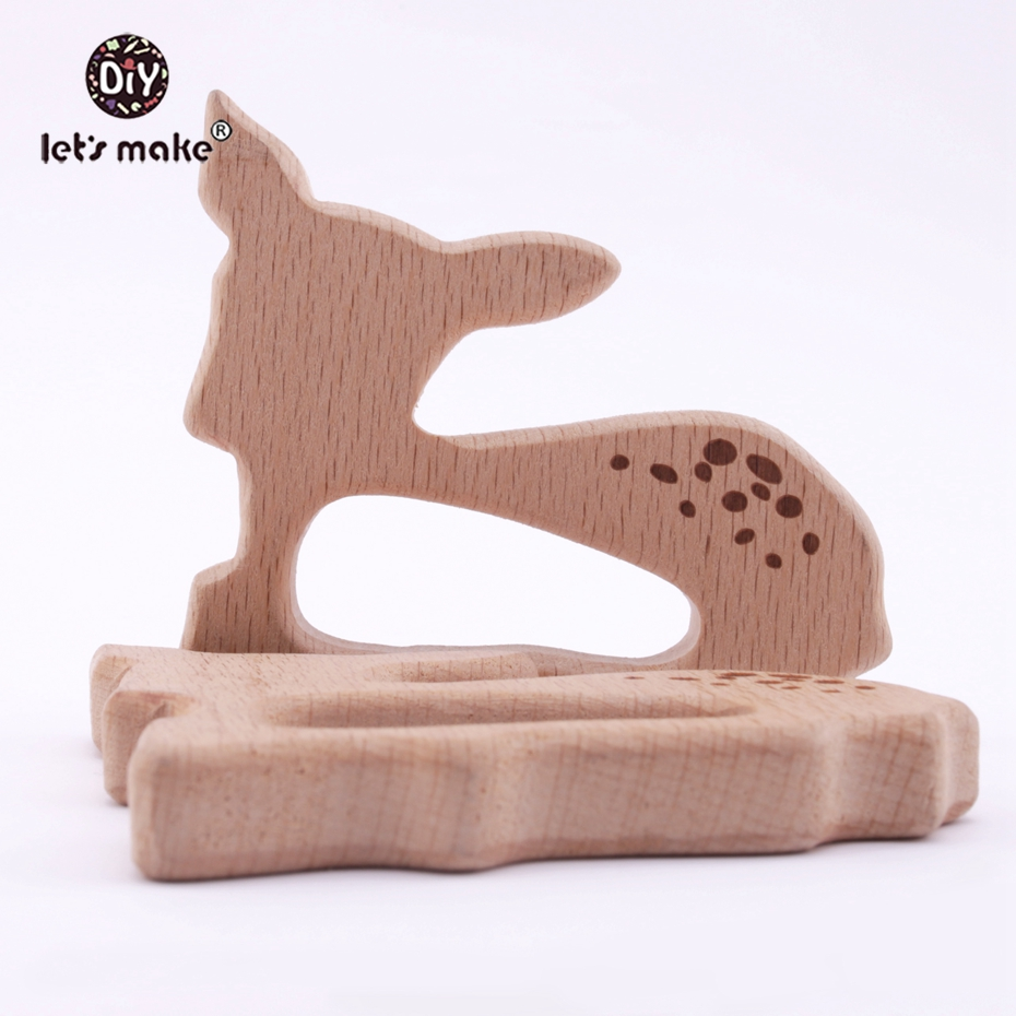 Let's Make Beech Wooden Teether Aniamls Sika Deer Roe Bambi Timber Baby Customizable Food Grade Wood Teething Big Horse Teether